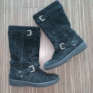 Coach Thelma Black Suede Snow Boots